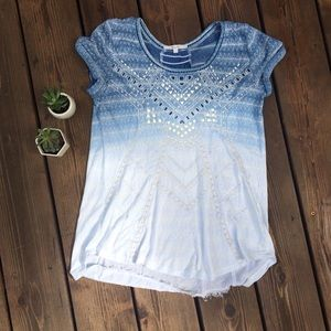 Miss Me Blue and White Small T-shirt Top